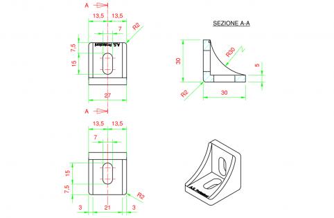 Squadra angolare di fissaggio per profili 30x30