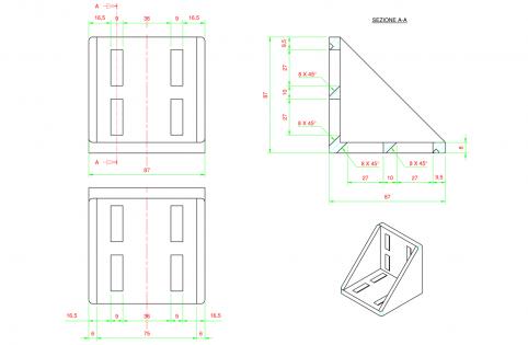 Squadra angolare di fissaggio per profili 90x90